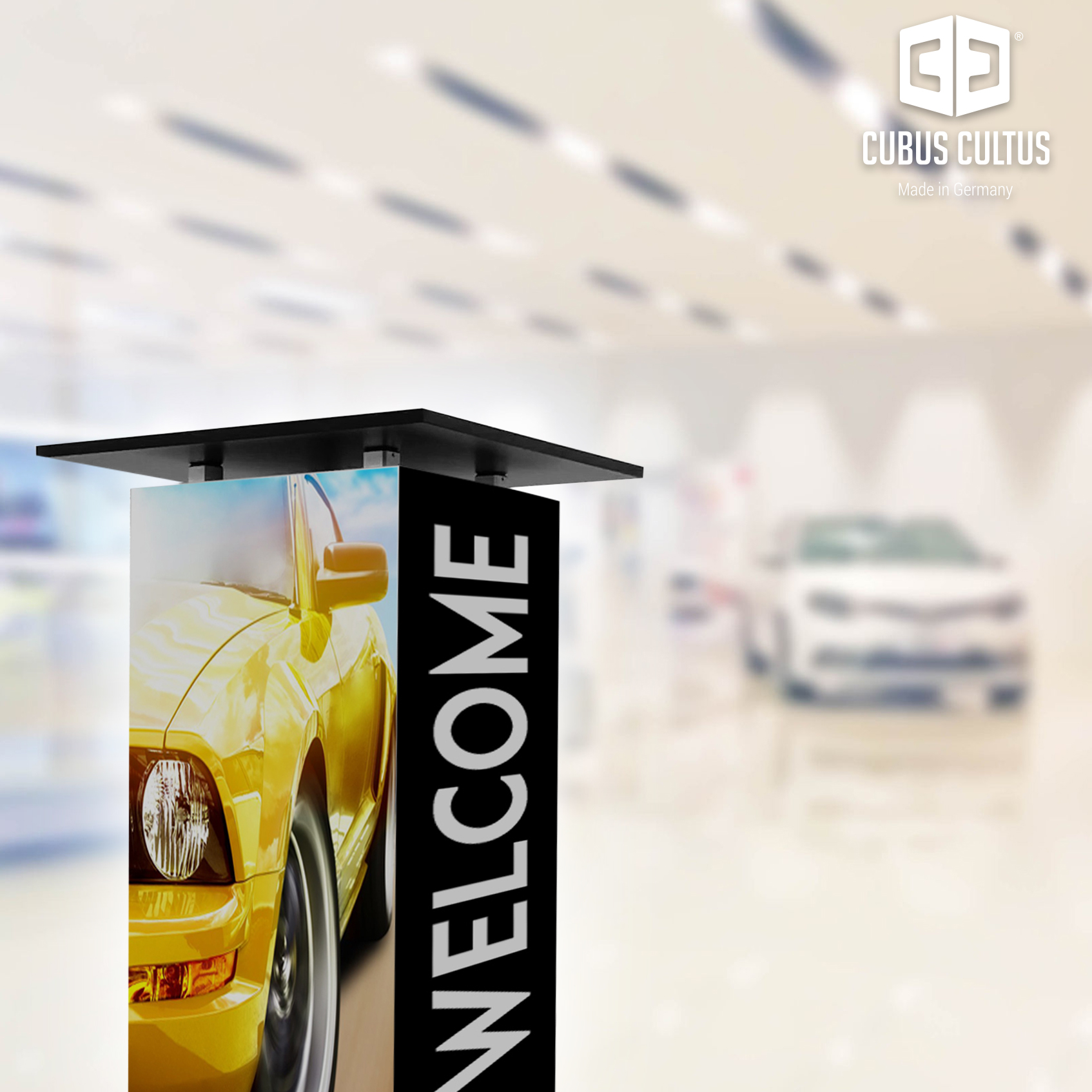 Rollbarer Werbe-Stehtisch für Autohauswerbung, Schaufenster, Messestand
