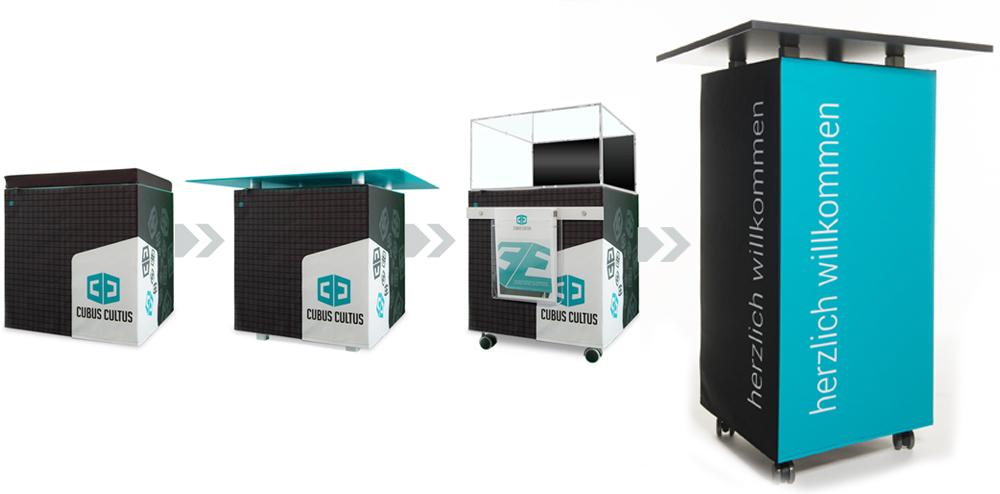 Messemöbel flexibel gestaltbar und verwandelbar in Ihrem Corporate Design mit Logodruck oder Werbebotschaft